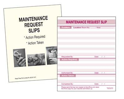 MAINTENANCE REQUEST PADS 400-X-400