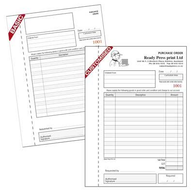 PURCHASE ORDER BOOKS Printing West Auckland