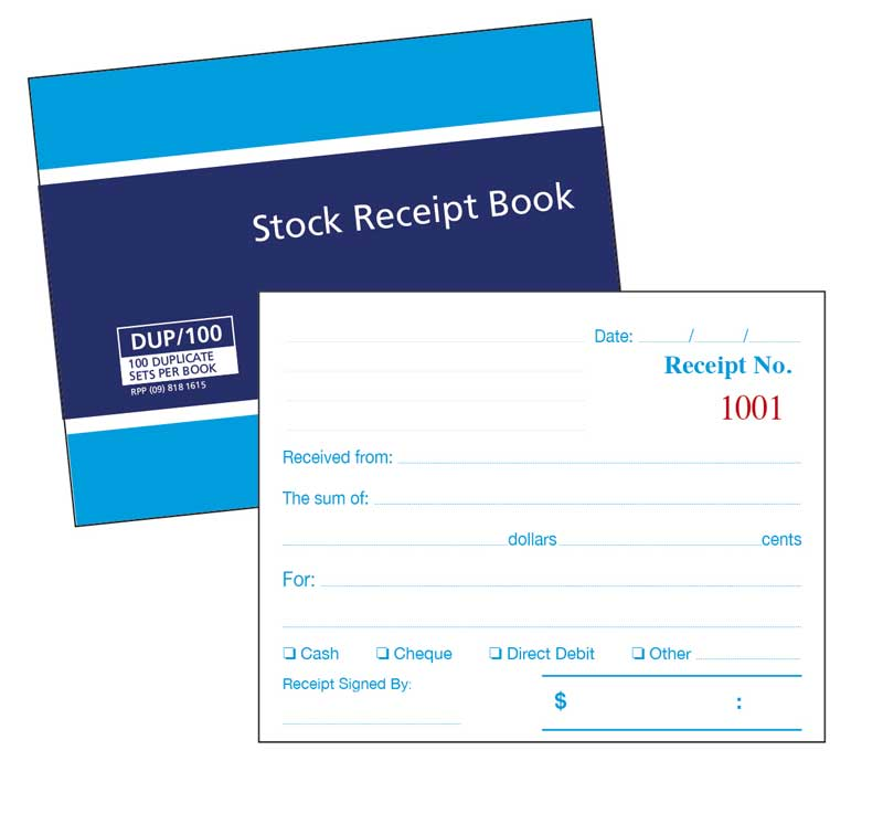 RECEIPT BOOKS SINGLE 800-X-800